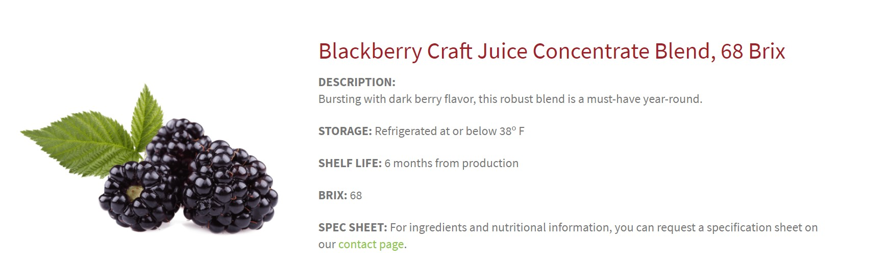 Screenshot of blackberry concentrate page, including description, storage, shelf life, and brix