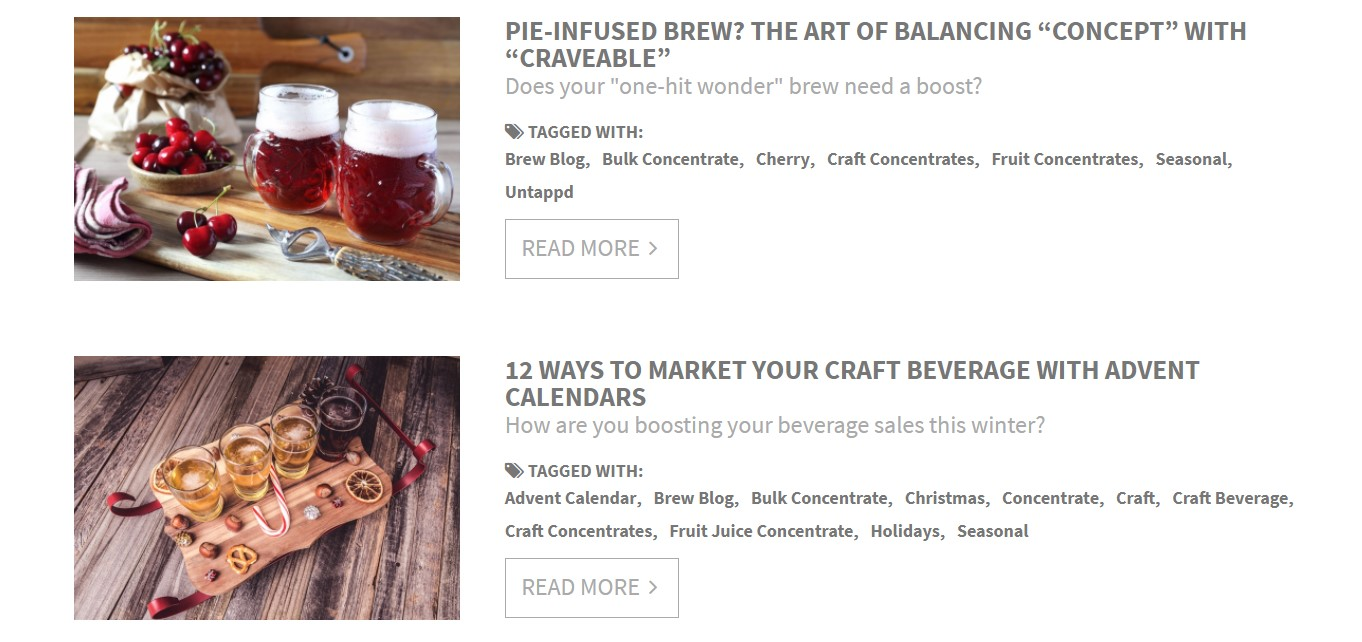 Screenshot of two brewblog entries with their pictures, titles, excerpts, and tags
