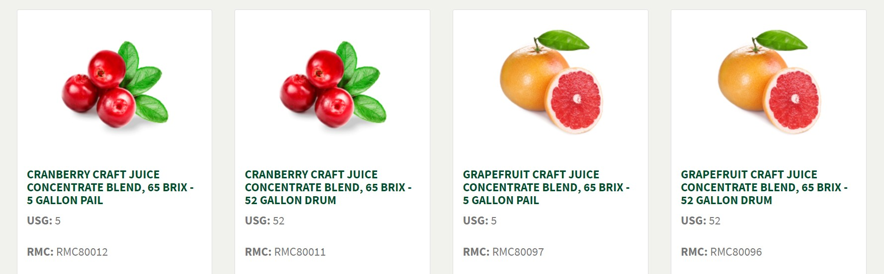 Screencap of portion of Old Orchard's pricing page, with cranberry and grapefruit shown
