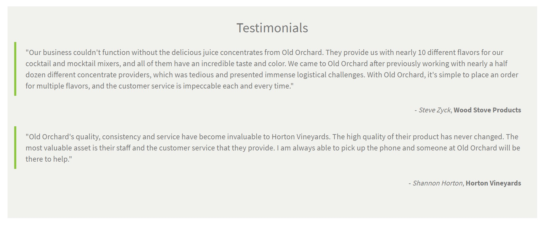 screenshot of testimonials from cocktail and winery customers