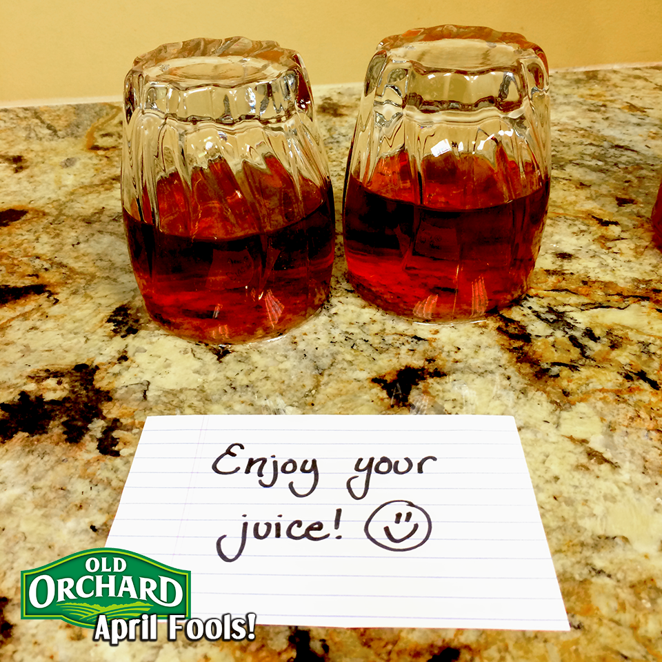 April Fools Upside Down Juice Glasses
