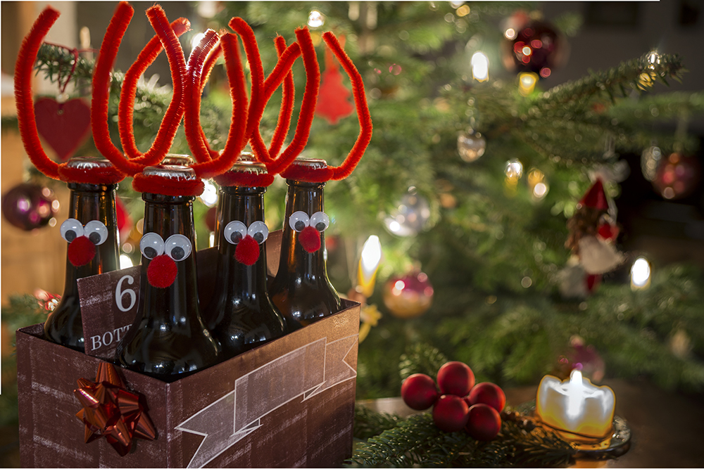 Reindeer decorated beer bottles